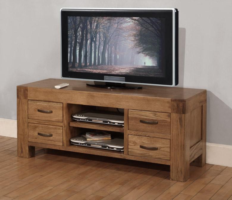 Sandringham solid oak furniture widescreen TV cabinet stand unit ...