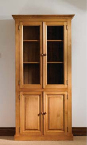 Mottisfont Solid Waxed Pine Furniture Glazed Cupboard Bookcase Display Cabinet