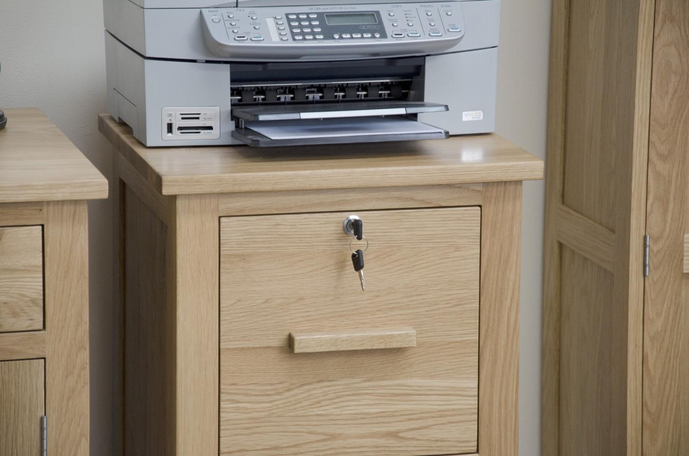 Arden Solid Oak Two Drawer Lockable Filing Cabinet Office