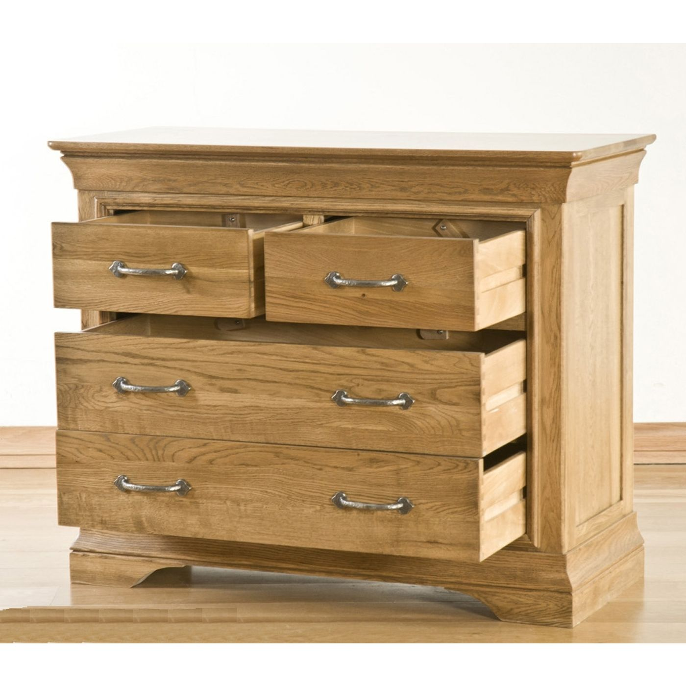 Toulon Solid Oak Bedroom Furniture 2 Over Chest Of Drawers